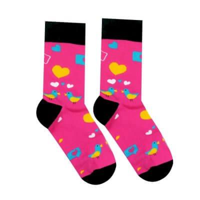 ružové ponožky s holubicami